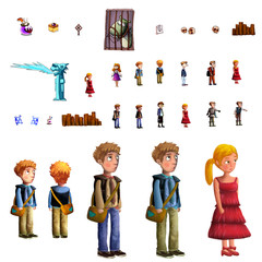 Illustration: Boy and Girl and Some Game Elements - Character Creation/Game Assets - Fantastic Style