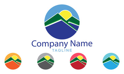 Mountain Logo Icon With Five Color Options