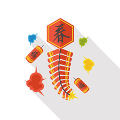 """ Wish spring comes"" Chinese firecrackers flat icon"