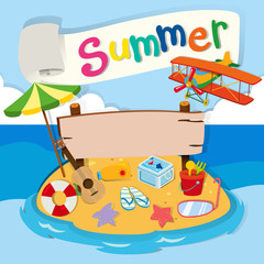 Summer theme with objects on the beach