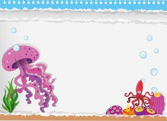 Paper design with jellyfish underwater
