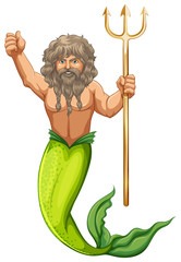 Male mermaid holding trident