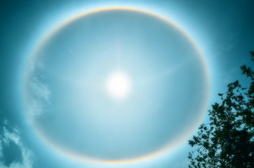 Circular Rainbow Around Sun with clouds