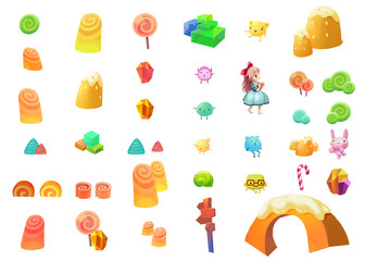 Illustrative Elements of Candy Land with White Background. Fantastic Style.