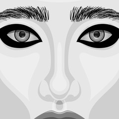 Retro Woman vector Portrait with Beautiful Eyes