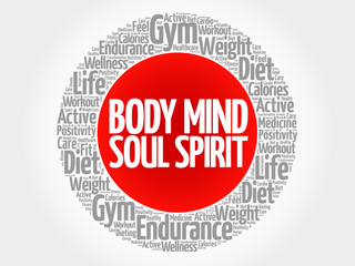 Body Mind Soul Spirit circle stamp word cloud, health concept