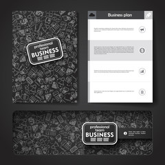 Vector template with hand drawn doodles business theme