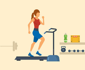Young adult woman running on treadmill in fitness gym