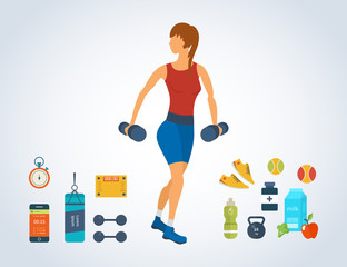 Cartoon illustration of a woman exercising with dumbbells.