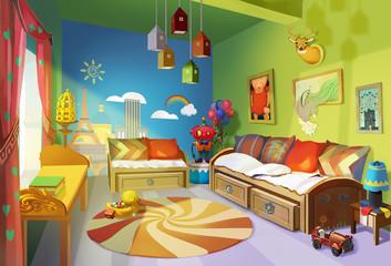 Illustration: Child Room version 1 - Scene Design - Fantastic/Realistic Style