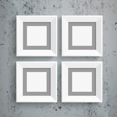 4 White Frames Concrete