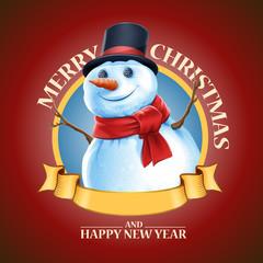 banner snowman merry christmas