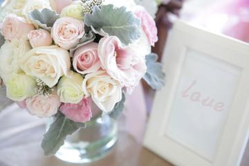 Pastel wedding flower bouquet