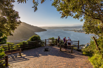 Tourists appreciating the beautiful view of Knysna in South Africa