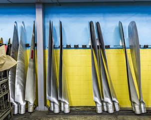 Wall Mural - New metal propeller aircraft  in aviation hangar.