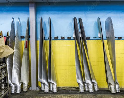 Wall mural New metal propeller aircraft  in aviation hangar.