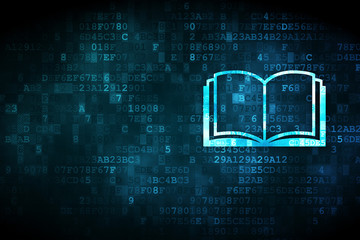 Learning concept: Book on digital background