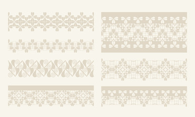 Vector lacy vintage design elements, lace seamless borders.