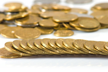 Isolated image of coins on a white background close-up