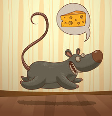 Vector mouse running to cheese. Cartoon image of a funny gray mouse running to a piece of cheese on a light striped background.