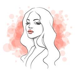 Blondie. Line vector illustration