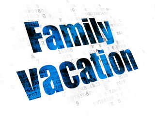 Tourism concept: Family Vacation on Digital background