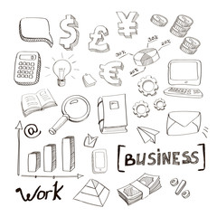 business finance doodle hand drawn elements. Concept - graph and chart, arrows signs, money, euro