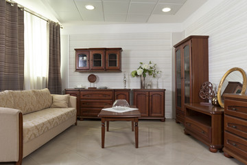 Living room interior with classic wooden furniture
