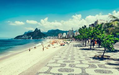Fototapete - Ipanema beach with mosaic of sidewalk in Rio de Janeiro. Brazil