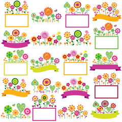 spring time floral frames set