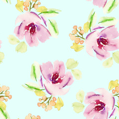 Seamless floral pattern. Watercolor painting. Pastel colors.