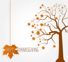 Thanksgiving poster. Tree with maple leaves. Vector illustration.