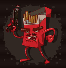 Vector cigarettes kill, red. Cartoon image of a red pack of cigarettes with a face, arms and legs, with a gun in his hand on a dark background. The theme of the fight against smoking.