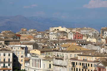 Corfu town old buildings cityscape