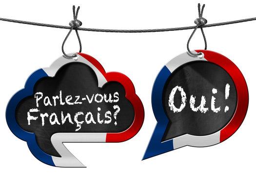 Parlez-vous Francais - Speech Bubbles / Two speech bubbles with French flag and text Parlez-vous Francais? Oui! (Do you speak French?)