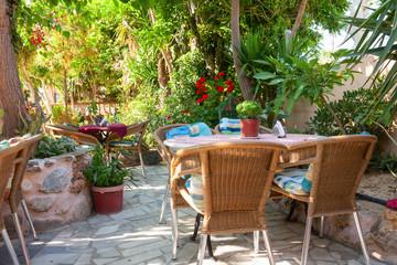 Cosy greek cafe terrace