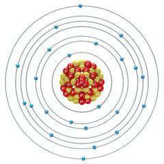 Vanadium atom on a white background