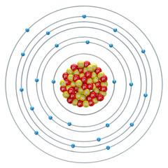 Chromium atom on a white background