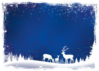 Christmas background blue with reindeer