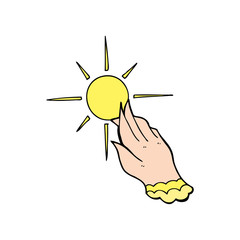 cartoon hand reaching for sun