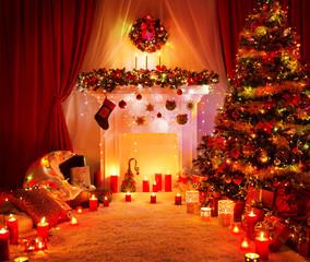 Room Christmas Tree Fireplace Lights, Home Interior Decoration