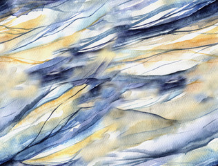 seamless pattern with watercolor waves