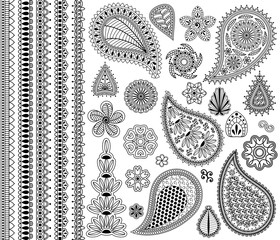 Vector vintage floral doodle elements. Flowers, payslies and five seamless borders.