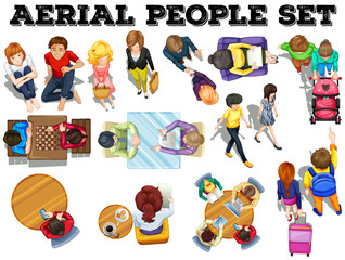 People from top view