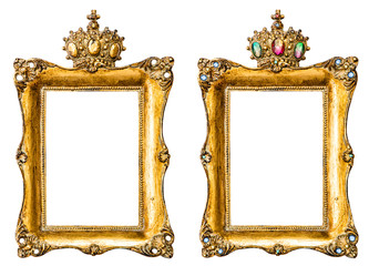 Golden picture frames decorated with gemstones