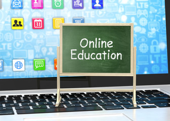 Laptop with chalkboard, online education concept