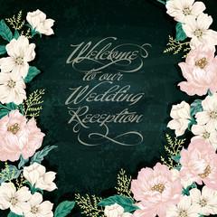 Elegant Vintage Flower Illustration. Wedding board design / White