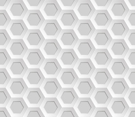 Seamless abstract honeycomb mesh  background - hexagons. Colour white with shadows. Vector illustration.  Lying on the surface.