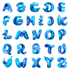 Ecology english alphabet with blue water splash and drops.