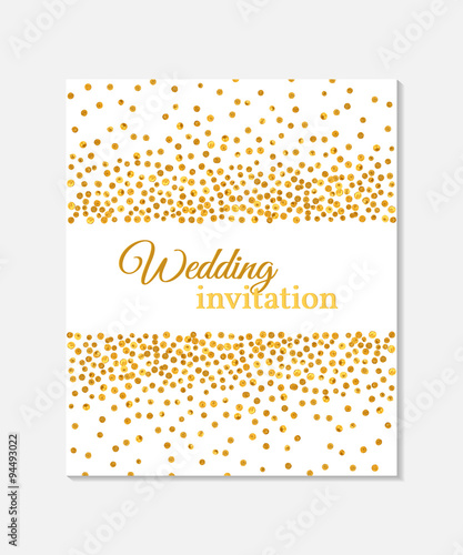 Wedding invitation card with falling golden dots on white background wedding invitation card with falling golden dots on white background vector template you can stopboris Image collections
